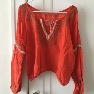 Free People Orange Embroidered Cropped Top